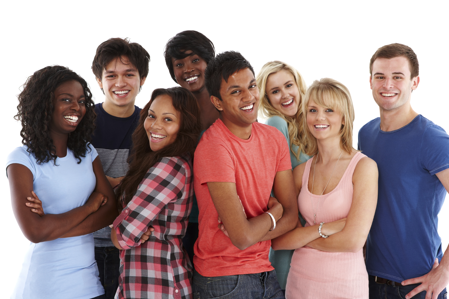 Group of diverse teenagers standing together and smiling for the camera. Horizontal shot.